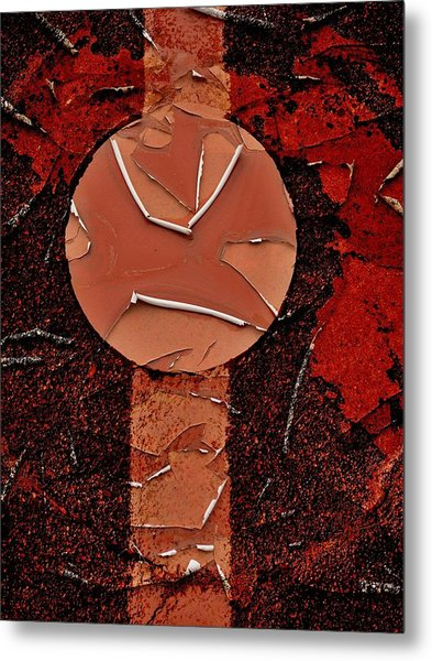 Red Totem With Headdress Metal Print