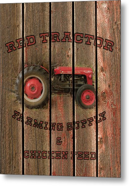 Red Tractor Farming Supply Metal Print