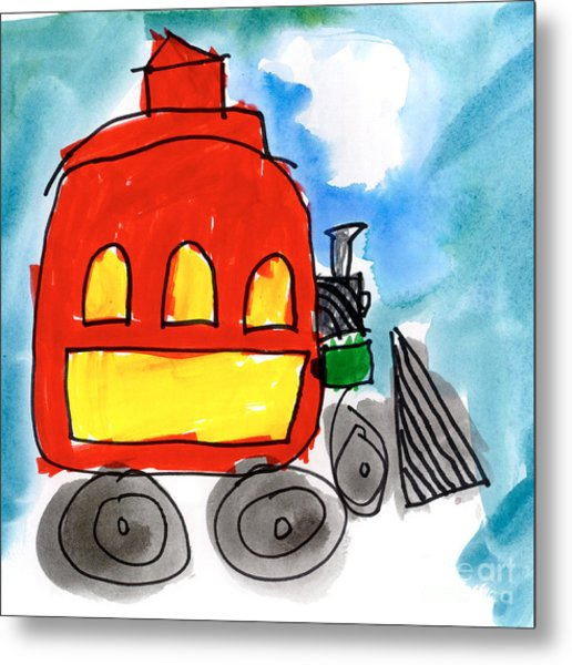 Red Train Metal Print