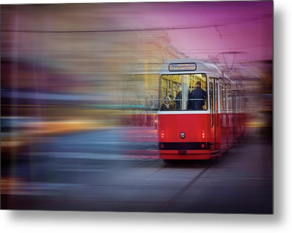 Red Tram In Vienna  Metal Print