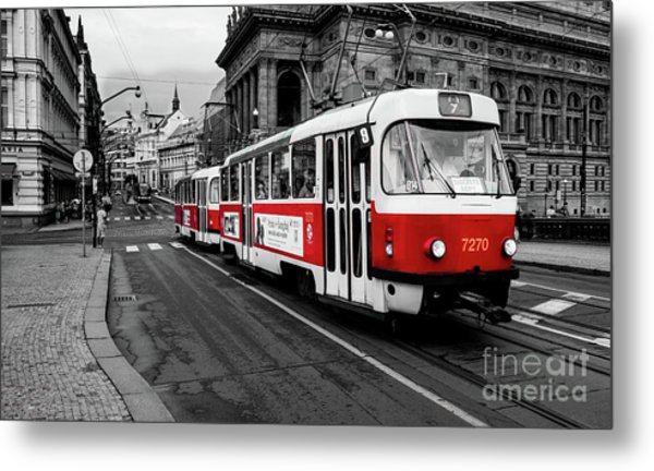 Prague - Red Tram Metal Print