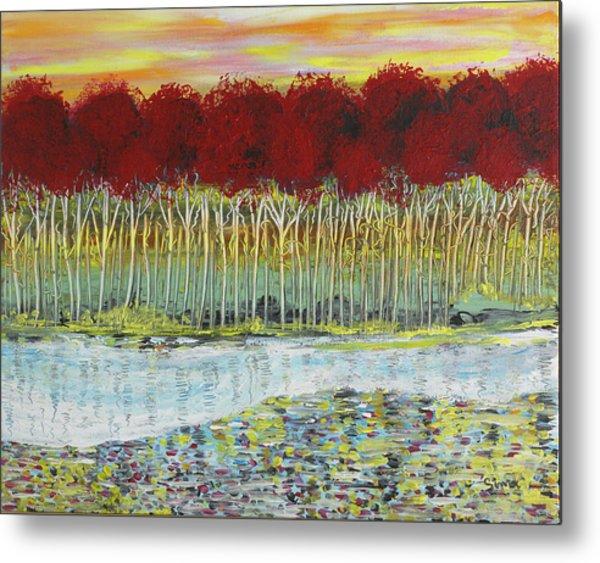 Red Trees At Water Metal Print