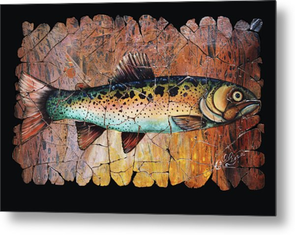 Red Trout Fresco Metal Print