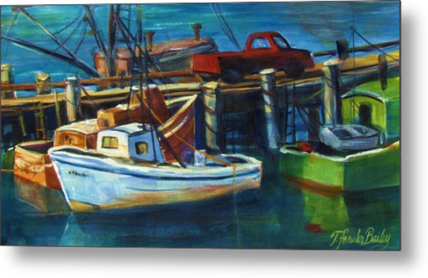 Red Truck On Old Morro Bay Pier Metal Print by Therese Fowler-Bailey