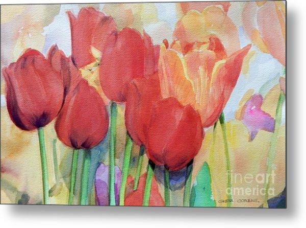 Watercolor Of Blooming Red Tulips In Spring Metal Print