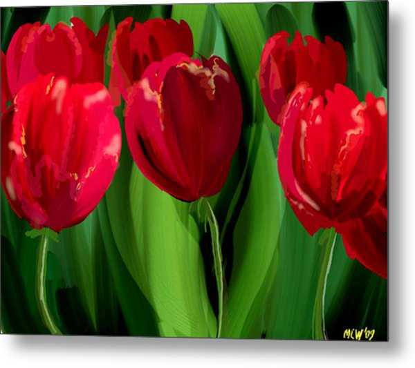 Red Tulips Metal Print by Margaret Wingstedt