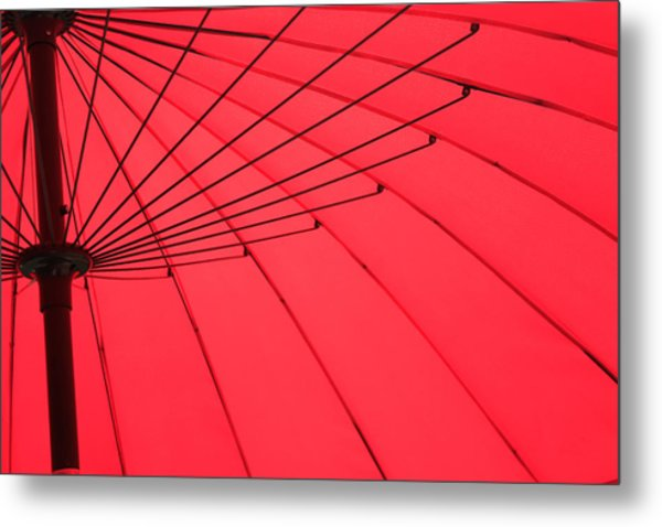 Red Umbrella Abstract Metal Print by Tony Grider
