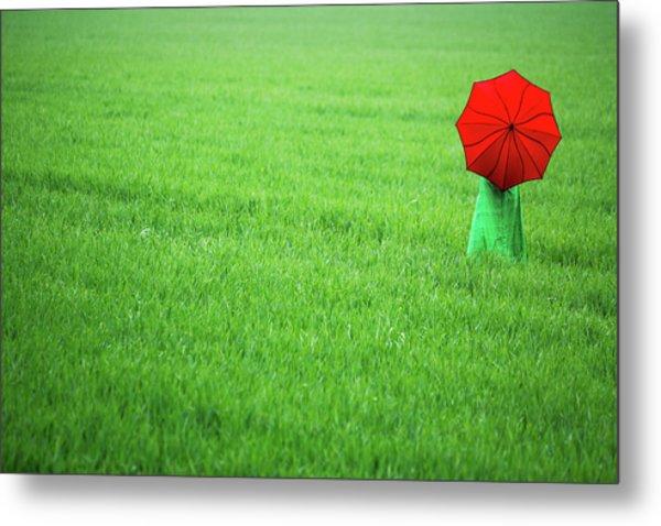Red Umbrella In Green Field Metal Print