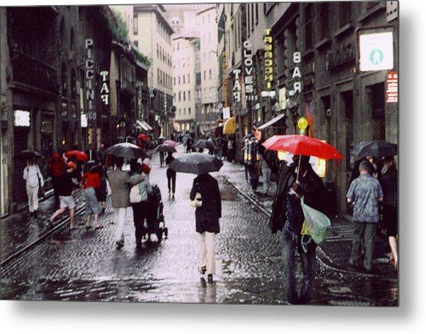 Red Umbrella In The Rain Metal Print by Richard Danek