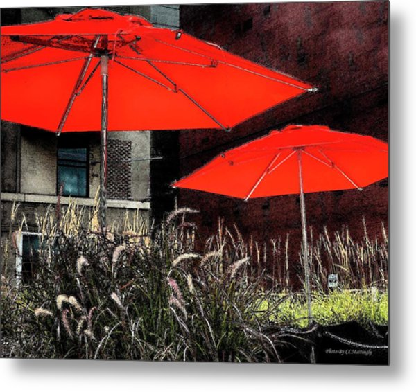 Red Umbrellas In Chicag Metal Print