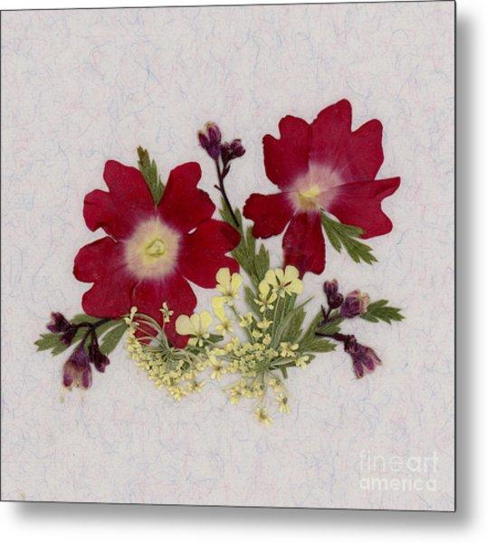 Red Verbena Pressed Flower Arrangement Metal Print
