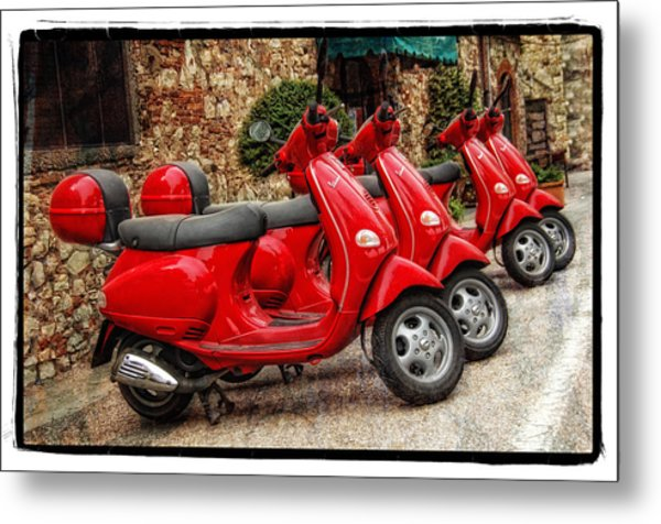 Red Vespas Metal Print
