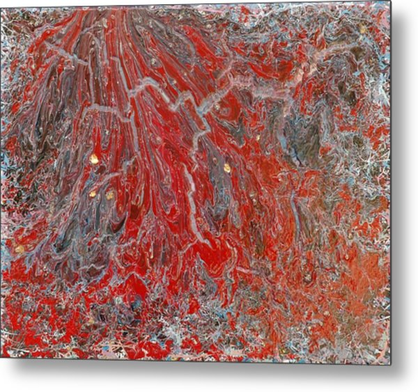Red Volcano Metal Print
