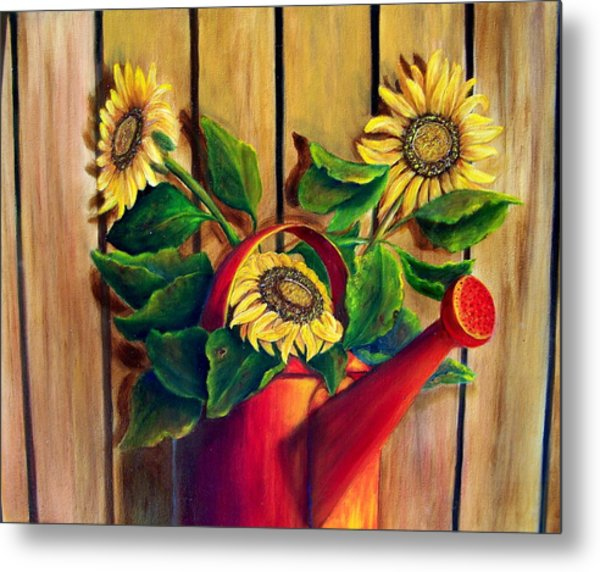 Red Watering Can With  Sunflowers.  Sold Metal Print