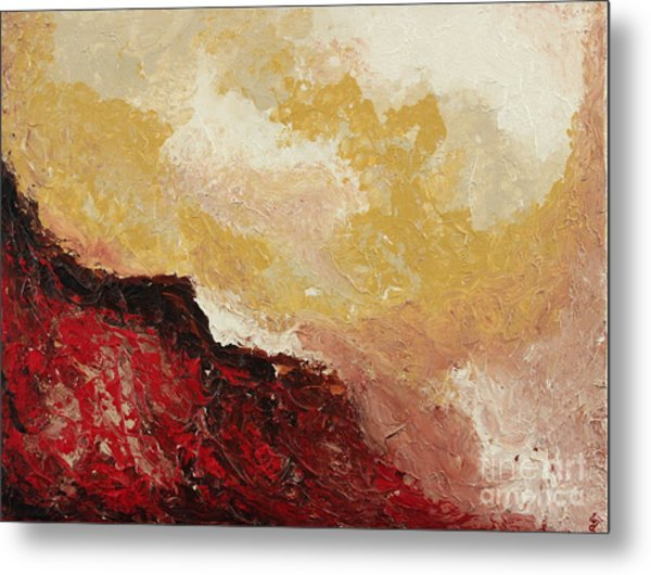 Red Waves Metal Print