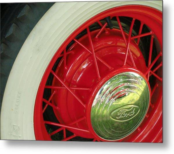 Red Wheels Metal Print by Richard Mansfield