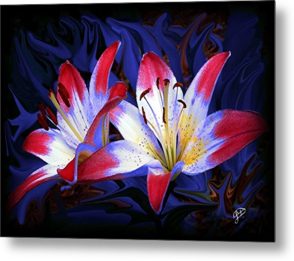 Red White And Blue Metal Print by Jim  Darnall