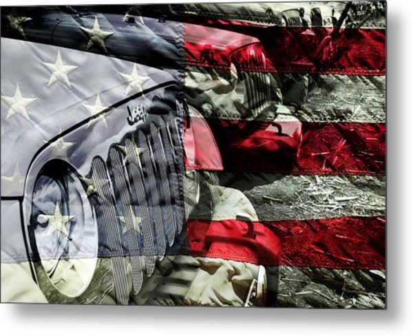 Red White And Jeep Metal Print