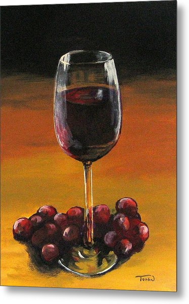 Red Wine And Red Grapes Metal Print