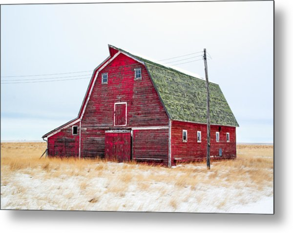 Red Winter Barn Metal Print