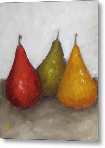 Red Yellow Green Pears Metal Print