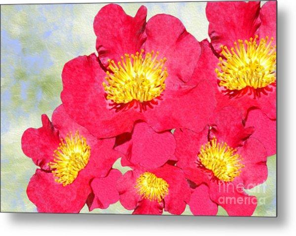 Red Yuletide Camellia Metal Print