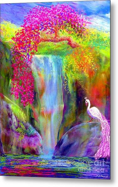 Waterfall And White Peacock, Redbud Falls Metal Print