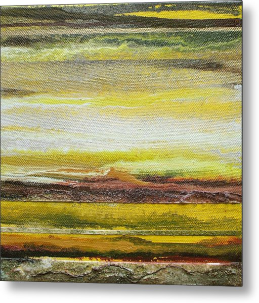 Redesdale Rhythms And Textures Series No3 Yellow And Sepia Metal Print by Mike   Bell
