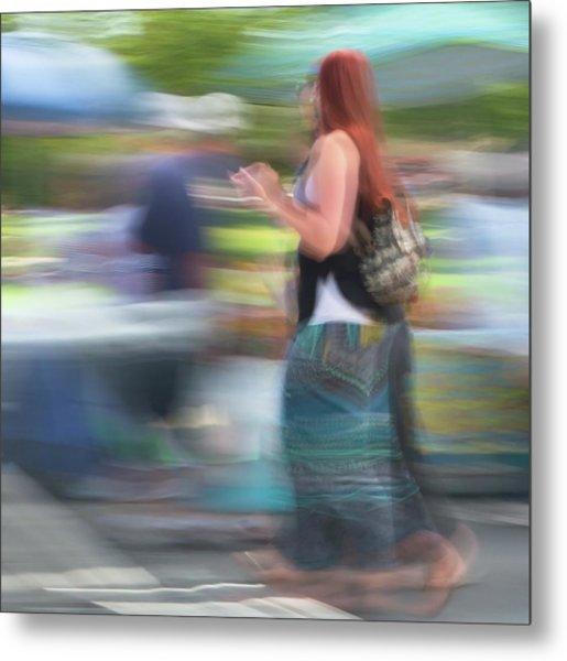 Metal Print featuring the photograph Redhead, Blue Green Skirt by Dutch Bieber