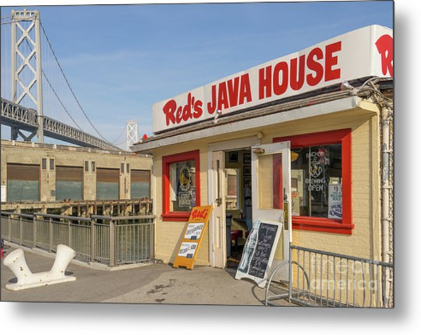 Reds Java House And The Bay Bridge At San Francisco Embarcadero Dsc5761 Metal Print
