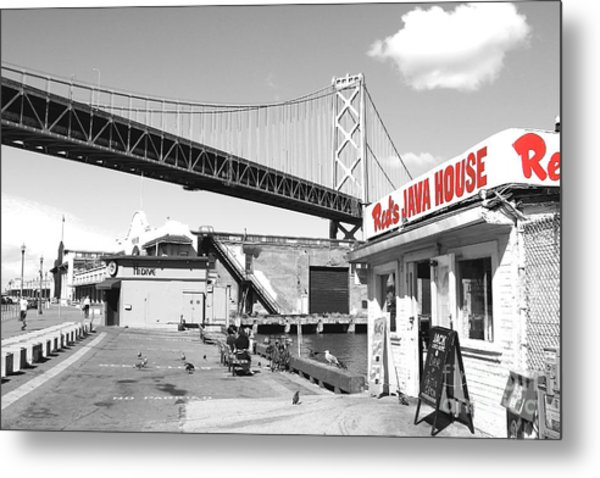 Reds Java House And The Bay Bridge In San Francisco Embarcadero  Metal Print