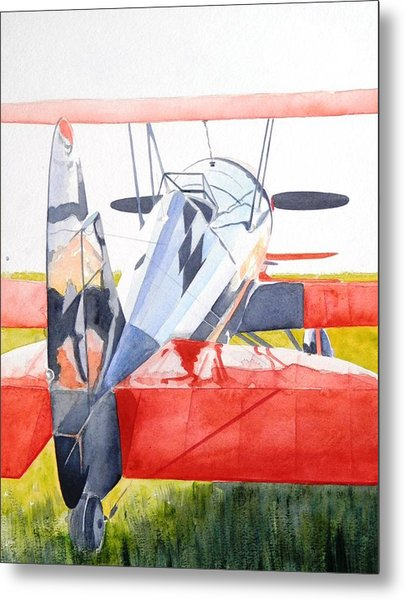 Reflection On Biplane Metal Print