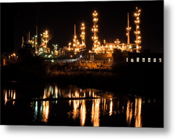 Refinery At Night 1 Metal Print