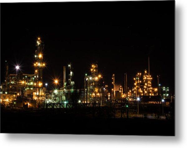 Refinery At Night 2 Metal Print