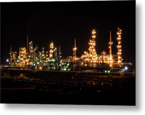Refinery At Night 3 Metal Print