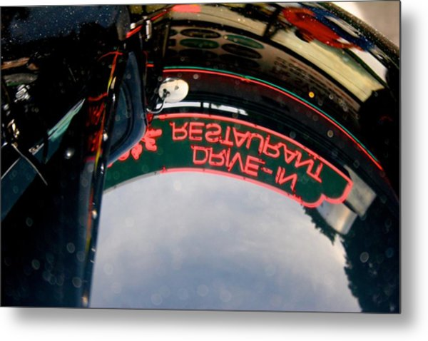 Reflected Neon Sign In Car Hood Metal Print