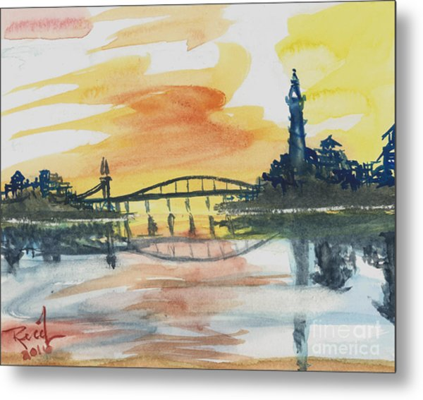 Reflecting Bridge Metal Print