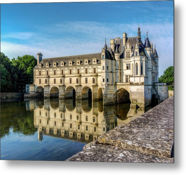 Reflecting Chateau Chenonceau In France Metal Print