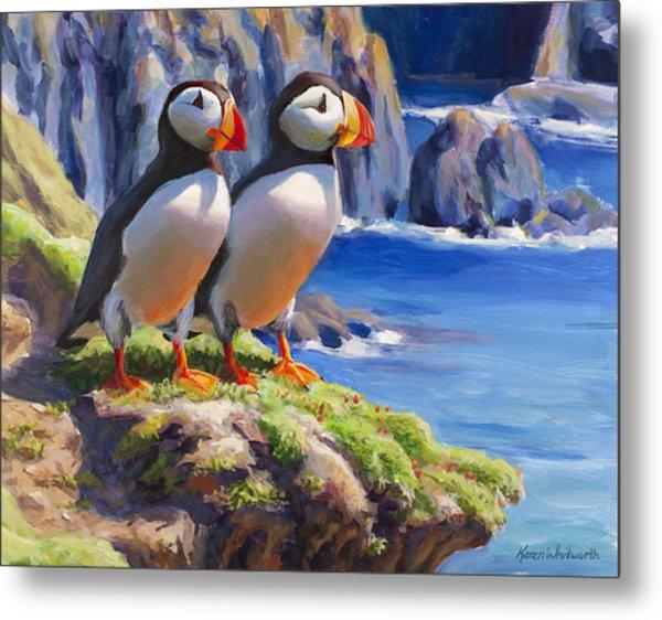 Horned Puffin Painting - Coastal Decor - Alaska Wall Art - Ocean Birds - Shorebirds Metal Print