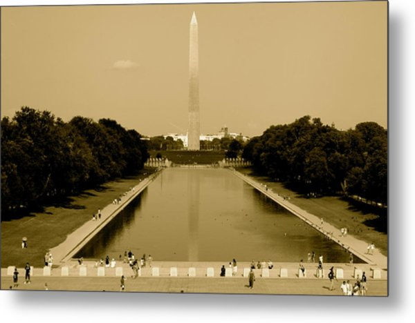 Reflecting Pool Of The Washington Monument Metal Print by Aimee Galicia Torres