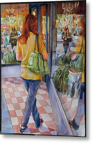 Reflecting Shopping Metal Print by Carolyn Epperly