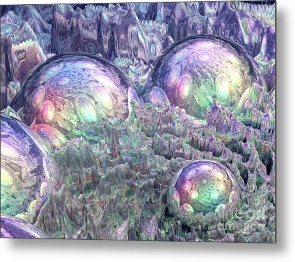 Reflecting Spheres In Space Metal Print