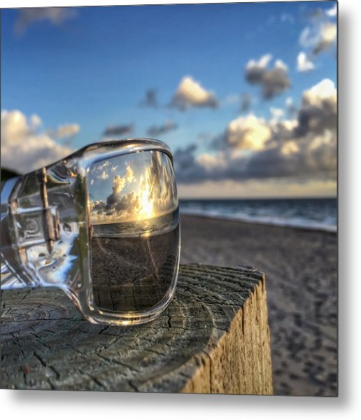 Reflecting Sunglasses Metal Print