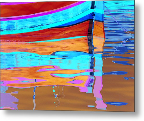 Reflection Boats Malta Metal Print by Barry Culling