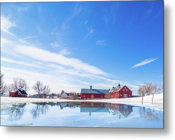 Reflection Of A Barn In Winter Metal Print