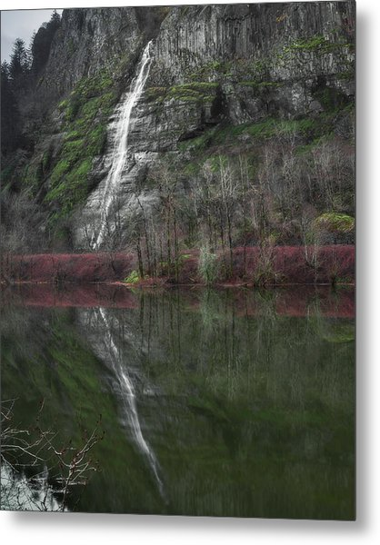 Reflection Of A Waterfall Metal Print