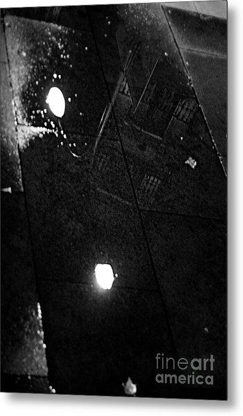 Reflection Of Wet Street Metal Print