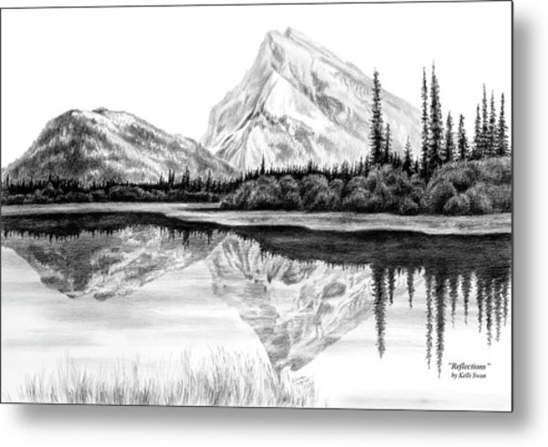 Reflections - Mountain Landscape Print Metal Print