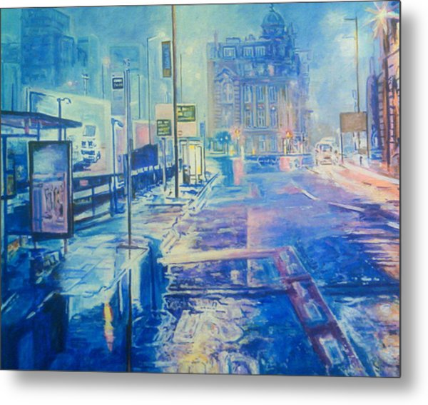 Reflections At Night In Manchester Metal Print