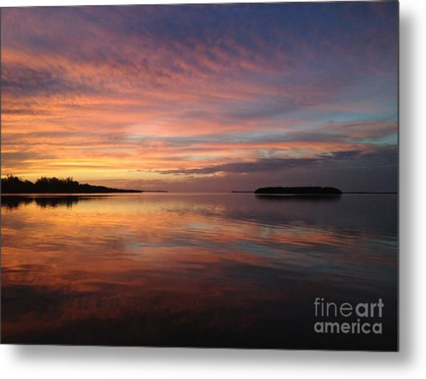 Reflections At Sunset In Key Largo Metal Print